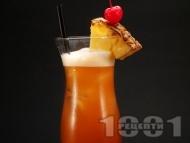 Коктейл Ямайски залез с тъмен ром (капитан Морган), сок от портокал и ананас